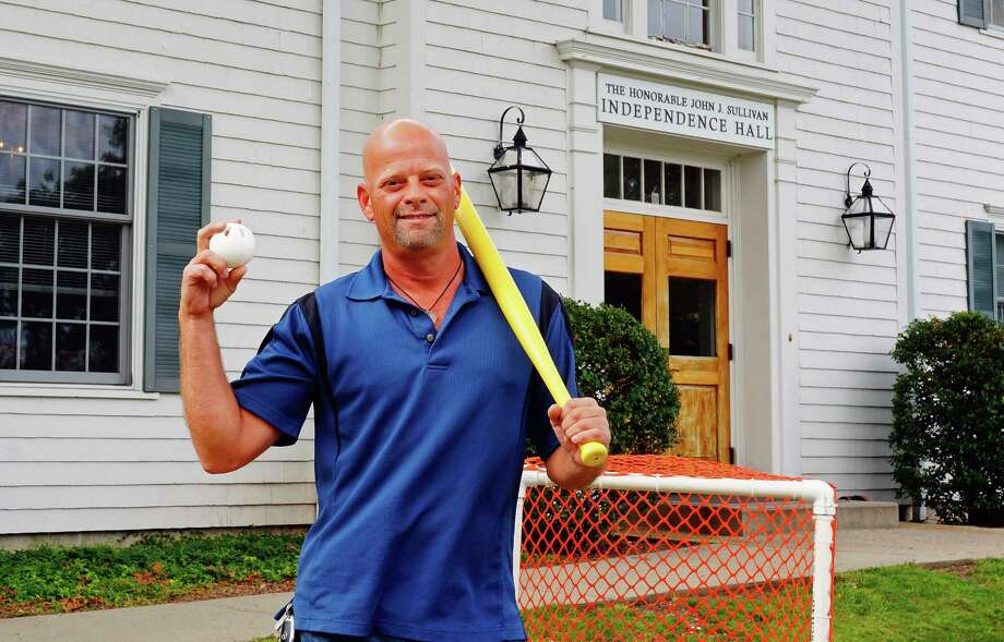 Craig Kimball, an adminstrator in the town's Information Technology Department, has put together a Wiffle Ball tournament to celebrate the town's 375th anniversary. Photo: Genevieve Reilly / Fairfield Citizen