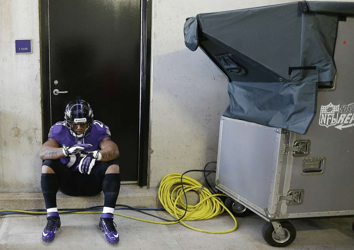 In this Nov. 10, 2013, file photo, Baltimore Ravens running back Ray Rice waits on the tunnel for his introduction before an NFL football game against the Cincinnati Bengals in Baltimore. It's an NFL fact of life: If a player has talent, a team can find a place for him, no matter how bad his off-the-field profile. Ray Rice is testing that maxim, as much for his deed as the fact that it's documented on video. He's suspended now, but can he rehab his image enough to come back on the field?