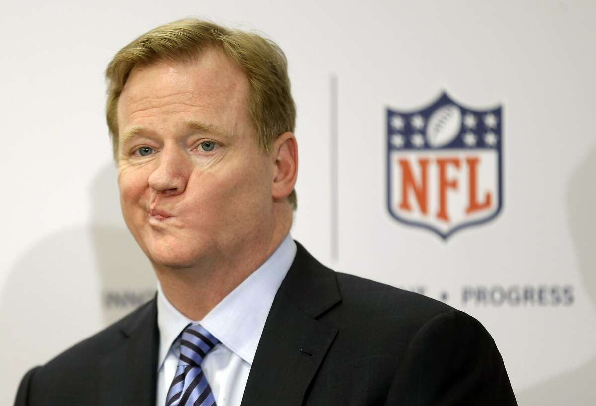 In this March 11, 2013, file photo, NFL Commissioner Roger Goodell takes questions during a news conference in New York. Marijuana is casting an ever-thickening haze across NFL locker rooms, and it's not simply because more players are using it. As attitudes toward the drug soften, and science slowly teases out marijuana's possible benefits for concussions and other injuries, the NFL is reaching a critical point in navigating its tenuous relationship with what is being recognized, more and more, as the analgesic of choice for many of its players. (AP Photo/Seth Wenig, File)