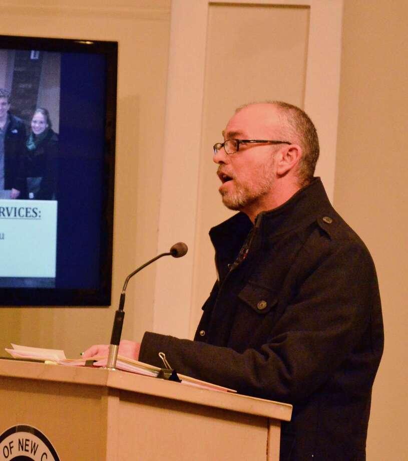 New Canaan Assessor Sebastian Caldarella at a Town Council meeting Jan. 29, 2014. Photo: Nelson Oliveira / New Canaan News