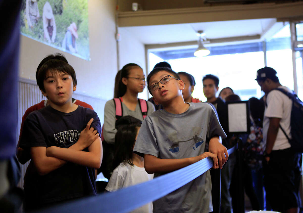 Alexander Schrader (left) and Andrew Cheng wait in line for bubble tea at Tpumps in S.F.