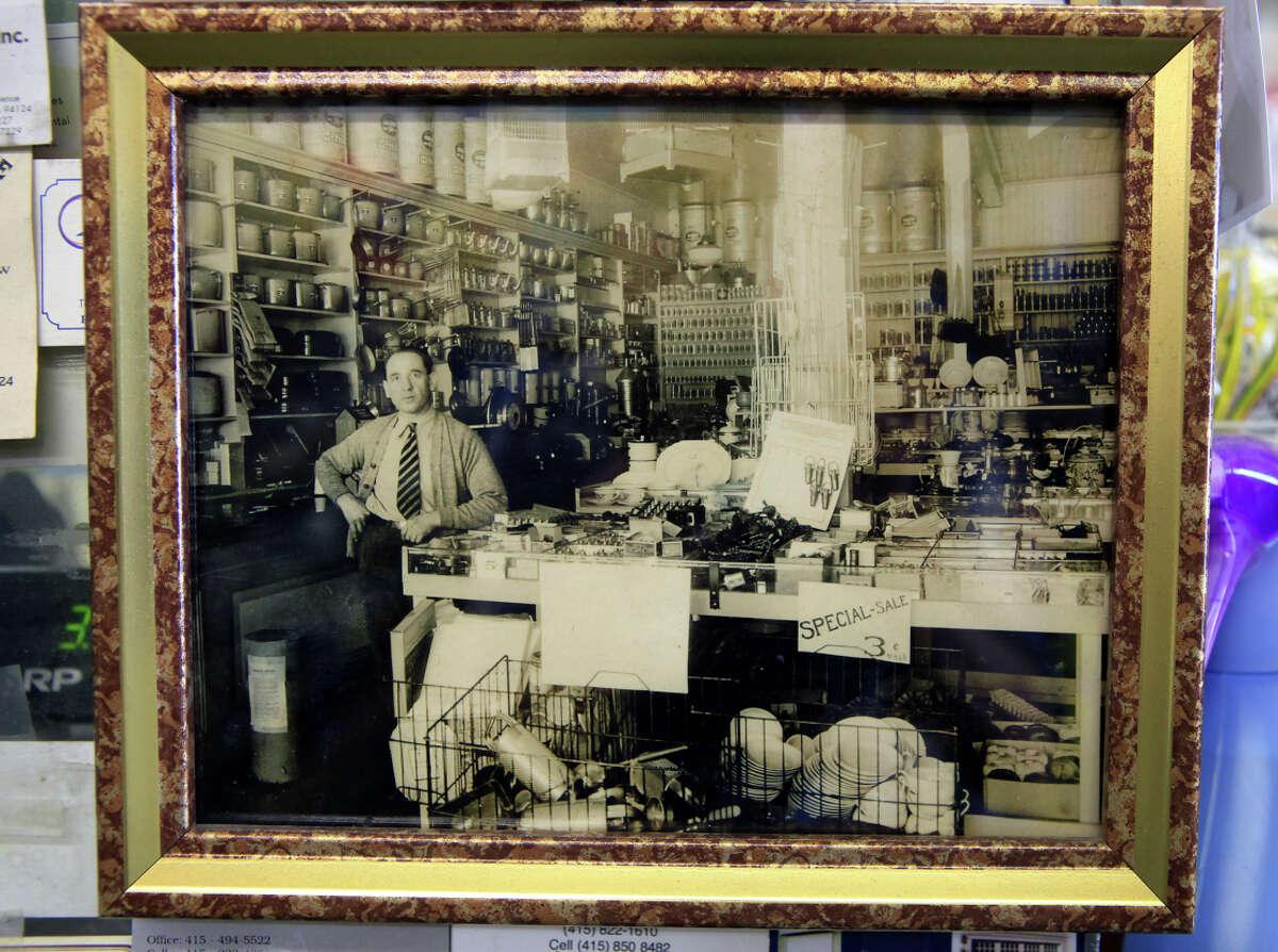 A 1939 photo of store founder Gualtiero Mazzei (Ed Mazzei's grandfather) in G. Mazzei & Sons' Hardware in S.F.