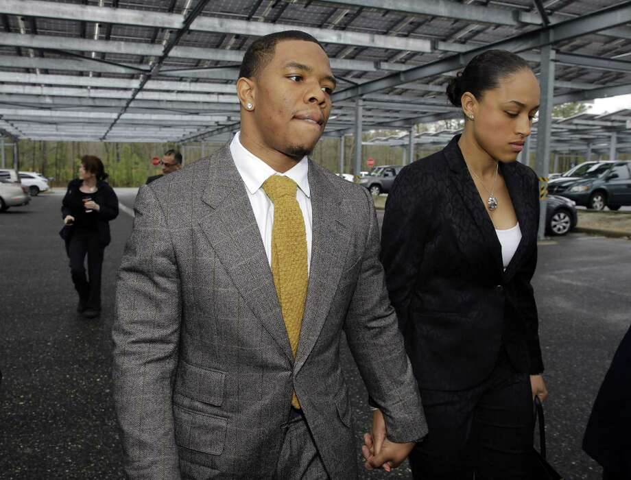 Readers comment on the suspension of NFL running back Ray Rice for assaulting Janay Palmer, his girlfriend at the time and now his wife. Rice holds hands with Palmer as they arrive at the courthouse in Mays Landing, N.J. Photo: Mel Evans / Associated Press / AP