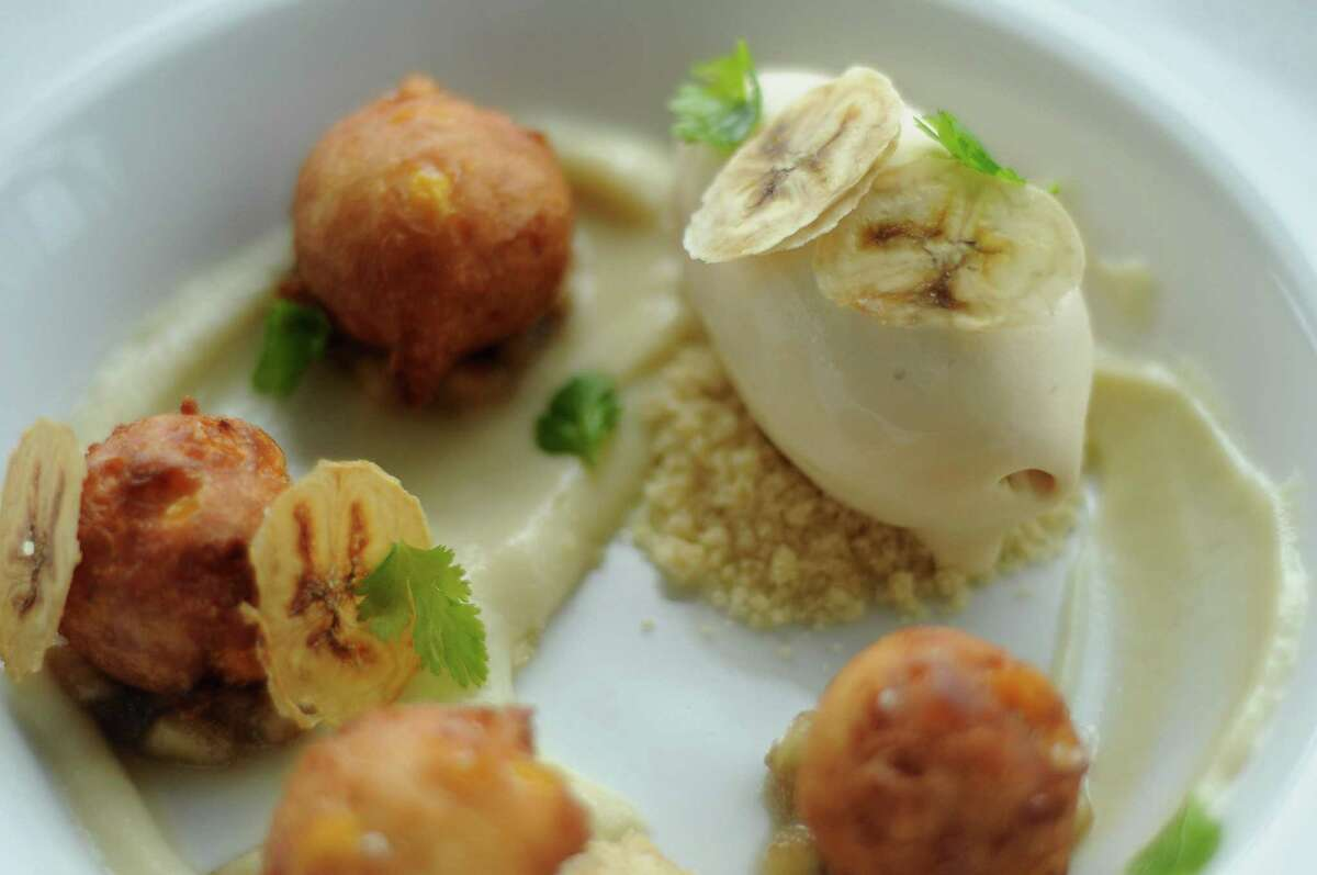 The Corn Fritter with banana pudding, dulce de leche-chamomile ice cream and cilantro at the Museum Park Cafe on Binz.