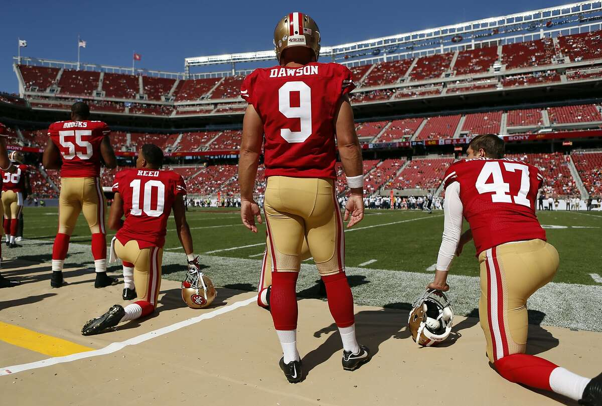 San Francisco 49ers' kicker Phil Dawson looks on in final minutes of 34-0 loss to Denver Broncos during NFL preseason game at Levi's Stadium in Santa Clara, Calif. on Sunday, August 17, 2014.
