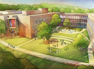 """This is the """"Courtyard Perspective"""" of the new Sandy Hook Elementary School, which is scheduled for completion in 2016. Architects from the New Haven-based firm of Svigals + Partners designed the project."""