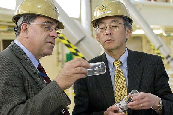 Ed Moses is shown with former Energy Secretary Steven Chu at NIF. Secretary of Energy Chu's visit to  the NIF at LLNL.