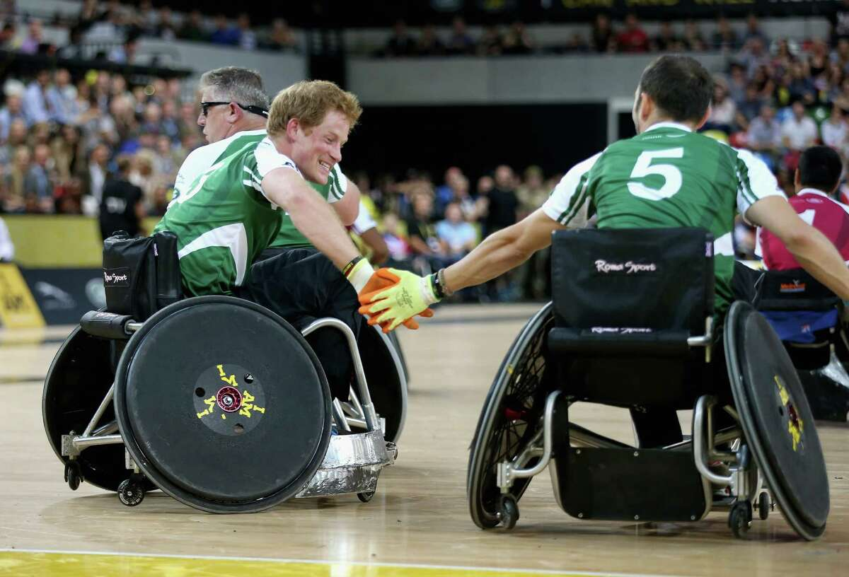 Prince Harry competes in an Exhibition wheelchair rugby match at the Copper Box ahead of tonight's exhibition match as part of the Invictus Games at Queen Elizabeth park on September 12, 2014 in London, England.