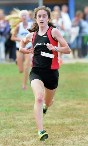 Guilderland's Emily Burns comes in first during the varsity girls Springstead Invitational Cross Country Meet on Friday, Sept. 12, 2014, at Colonie Town Park in Colonie, N.Y. (Cindy Schultz / Times Union) Photo: Cindy Schultz / 00028531A