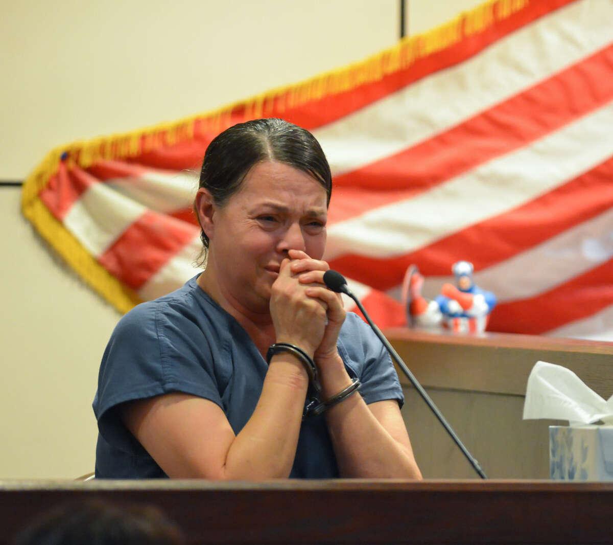 Hilda Valadez weeps while testifying during her shock probation hearing.