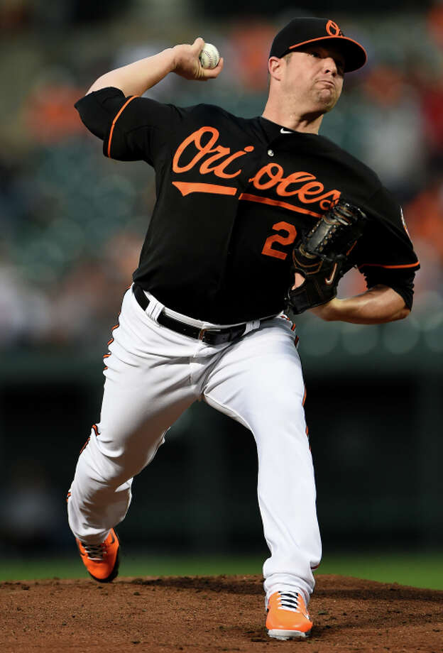BAL TIMO RE, MD - SEPTEMBER 12: Starting pitcher Bud Norris #25 of the Baltimore Orioles works the first inning against the New York Yankees during game two of a doubleheader at Oriole Park at Camden Yards on September 12, 2014 in Baltimore, Maryland. (Photo by Patrick Smith/Getty Images) Photo: Patrick Smith, Stringer / Getty Images / 2014 Getty Images