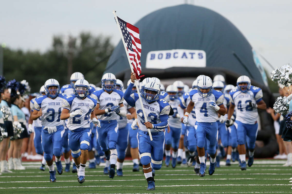 The South San Bobcats take the field prior to their game with MacArthur at Comalander Stadium on Friday, Sept. 12, 2014. MARVIN PFEIFFER/ mpfeiffer@express-news.net