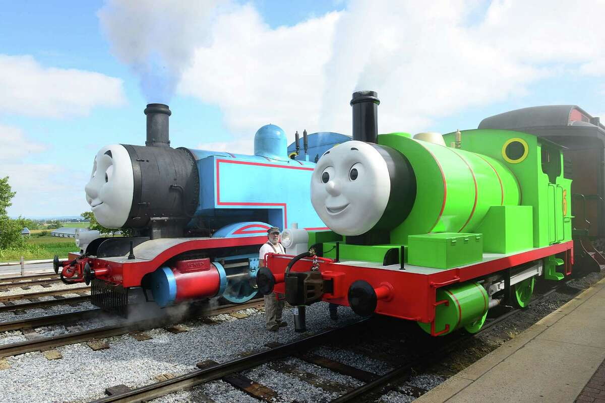 Thomas the Tank Engine welcomes his best friend Percy for the first time during the Thomas & Friends: A Day Out with Thomas Tour 2014 at Strasburg Rail Road Museum on September 12, 2014 in the Ronks community of Lancaster County, Pennsylvania.