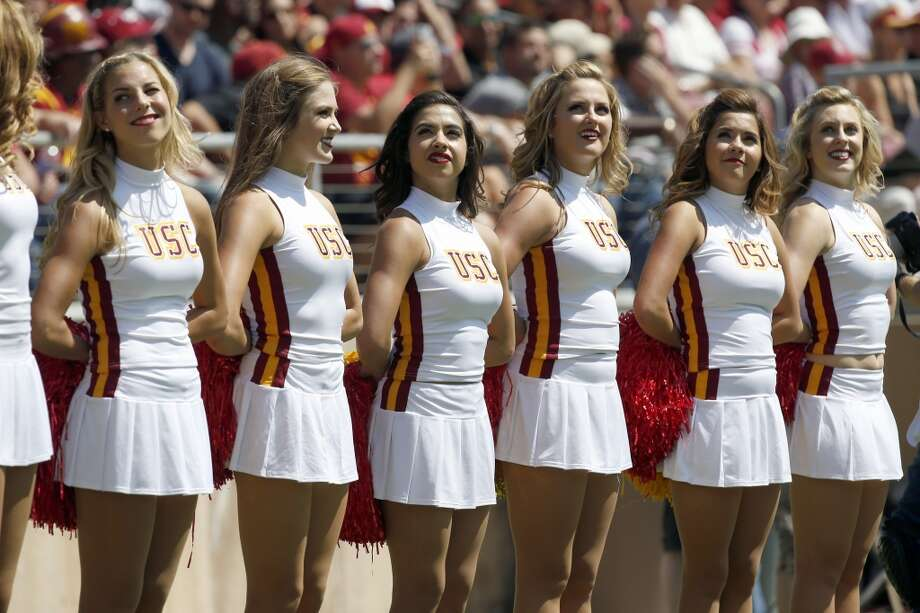 Southern California cheerleader in a NCAA college football game on Saturday, Sept. 6, 2014, in Stanford, Calif. (AP Photo/Tony Avelar) Photo: TONY AVELAR, Associated Press