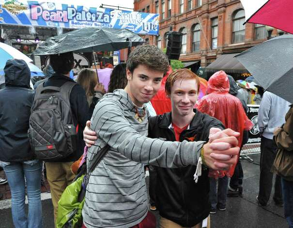 Steven Strait, left, 17, of Delanson and Jack Newton, 16, of Niskayuna mock a slow song at the 5th annual Pearlpalooza Saturday Sept. 13, 2014, in Albany, NY.  (John Carl D'Annibale / Times Union) Photo: John Carl D'Annibale / 00028420A