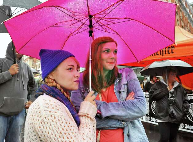 Kellyrose Marry, left, and Samantha Burke, both of Latham listen to the bands during the 5th annual Pearlpalooza Saturday Sept. 13, 2014, in Albany, NY.  (John Carl D'Annibale / Times Union) Photo: John Carl D'Annibale / 00028420A