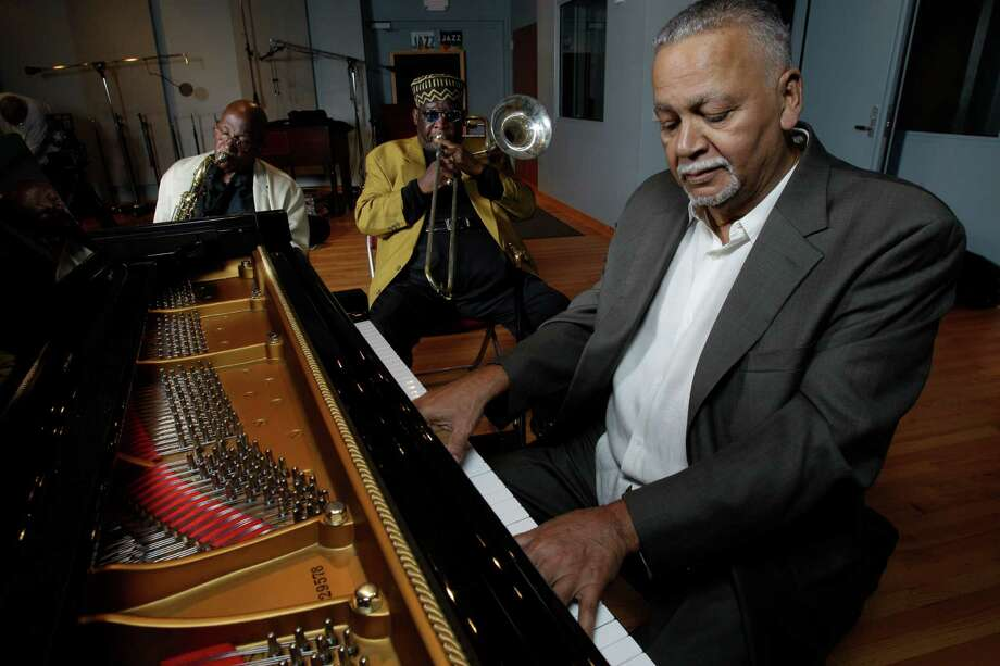 Joe Sample, at piano, rehearses with the Jazz Crusaders before a Sept. 10, 2011, reunion performance in Galveston.  Photo: Melissa Phillip, Staff / © 2011 Houston Chronicle