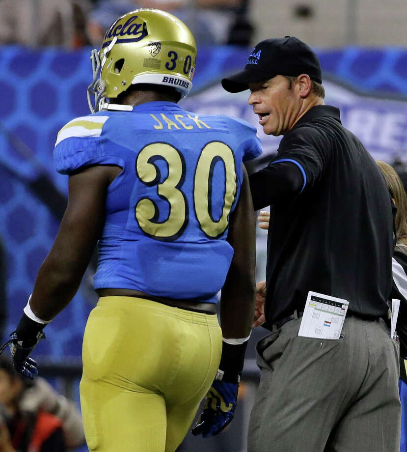 "No. 24 – Jim Mora | UCLATotal Pay: $3,350,000Combined staff salaries: $3.97 million(Source: USA Today ""Top NCAAF Coach Pay"") Photo: Tony Gutierrez, Associated Press / AP"