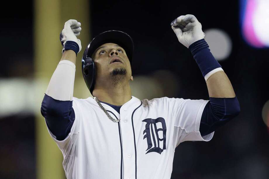 Tigers designated hitter Victor Martinez looks up after hitting his 31st home run of the season. Photo: Carlos Osorio / Associated Press / AP