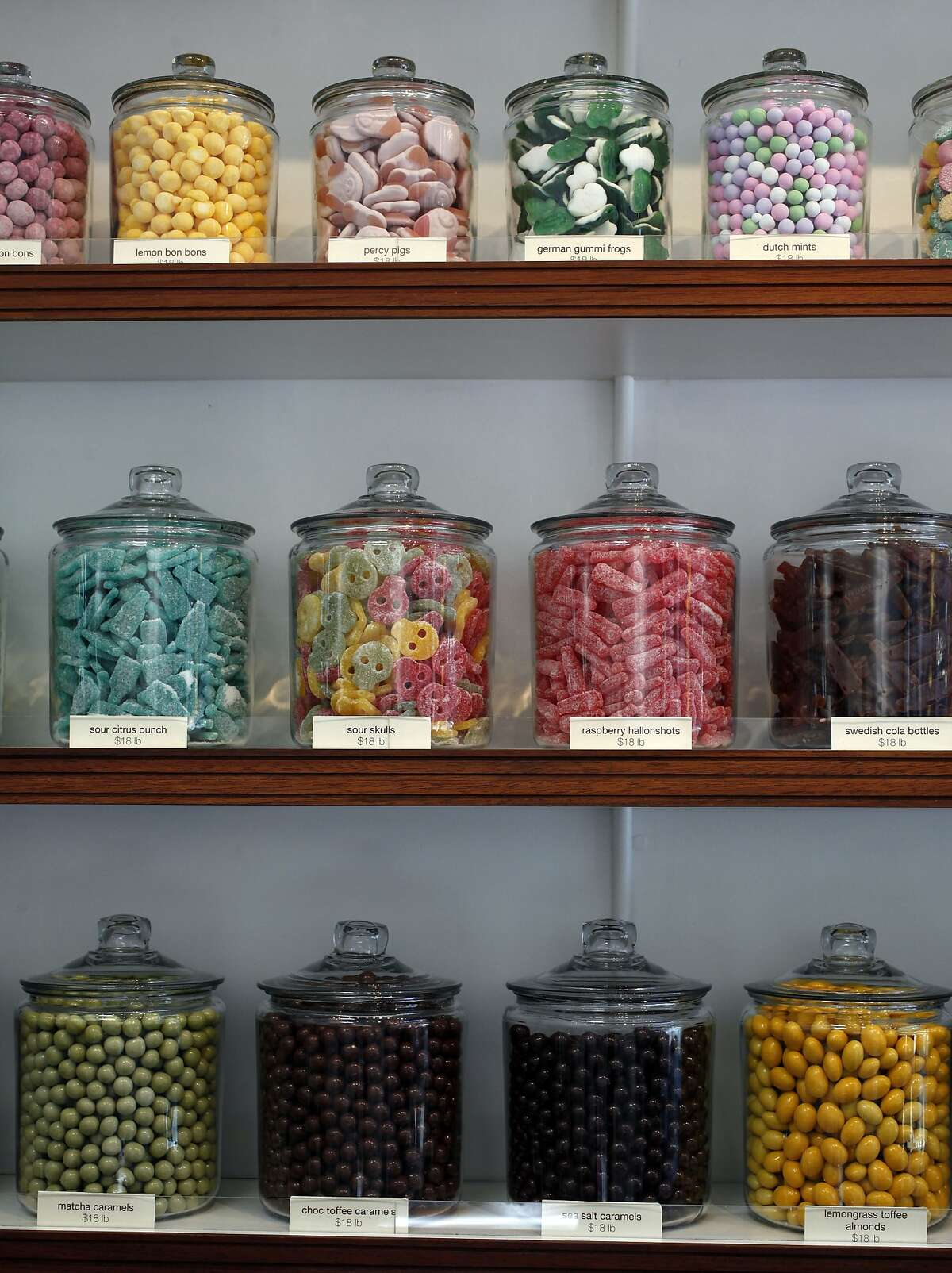 Assortment of treats displayed in glass jars at the Candy Store in San Francisco, Calif., on Friday, September 5, 2014.