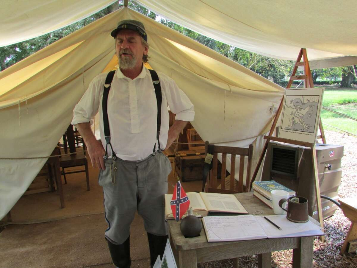 A costumed interpreter talks about the Civil War's effect on Oak Alley Plantation.