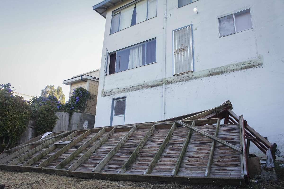 A collapsed deck in Oakland which injured 9 people, three critically, as seen on September 14th 2014.
