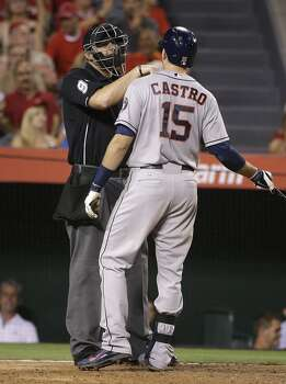 September 13: Angels 5, Astros 2  Jason Castro, right, argues with home plate umpire Lance Barrett after he struck out during the sixth inning.  Record: 65-83. Photo: Jae C. Hong, Associated Press
