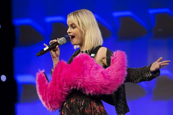 Taryn Manning, who plays Pennsatucky on Orange is the New Black, takes the stage as the host of the Gay and Lesbian Alliance Against Defamation annual gala at the San Francisco Hilton on September 13, 2014.