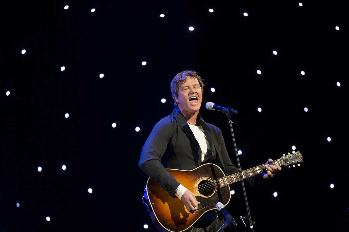 Stephan Jenkins, of Third Eye Blind, preforms his song Jumper at the Gay and Lesbian Alliance Against Defamation annual gala at the San Francisco Hilton on September 13, 2014.