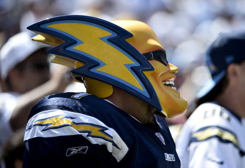The San Diego Chargers Mascot Cheers During The First Half