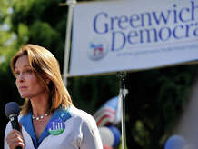 Democratic State Assembly candidate for the 150th District Jill Oberlander speaks during the Greenwich Democratic Committee's annual campaign kick-off picnic at the Garden Education Center of Greenwich in Cos Cob, Greenwich, Conn., on Sunday, Sept. 14, 2014.