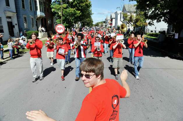 Members of the RPI Pep Band play music as they march down Fifth Ave. during the 39th annual Uncle Sam Parade on Sunday, Sept. 14, 2014, in Lansingburgh, N.Y.  (Paul Buckowski / Times Union) Photo: Paul Buckowski / 00028585A