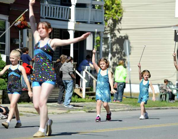 Little girls in the Trojan High Steppers march down Fifth Ave. during the 39th annual Uncle Sam Parade on Sunday, Sept. 14, 2014, in Lansingburgh, N.Y.  (Paul Buckowski / Times Union) Photo: Paul Buckowski / 00028585A
