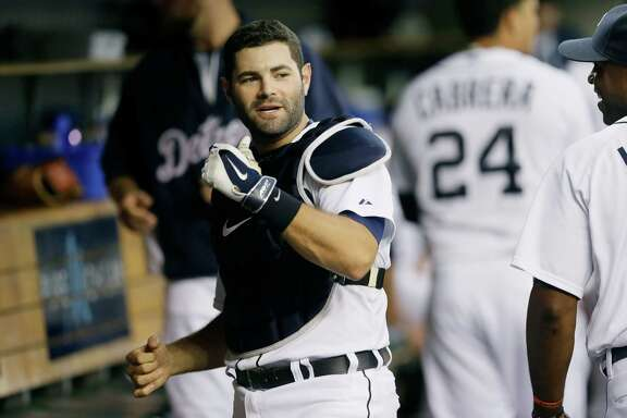 Detroit Tigers catcher Alex Avila is seen in the dugout before the first inning of a baseball game against the Kansas City Royals in Detroit, Wednesday, Sept. 10, 2014. (AP Photo/Carlos Osorio)