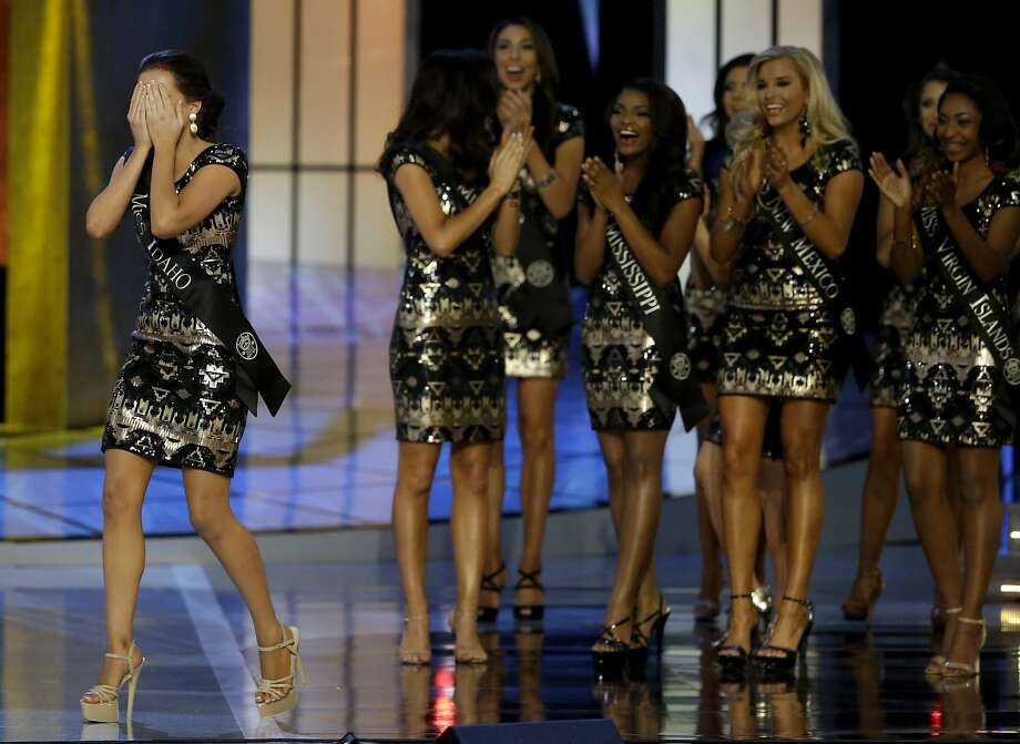 Miss Idaho Sierra Sandison, left, celebrates after she's announced as a finalist during the Miss America 2015 pageant, Sunday, Sept. 14, 2014, in Atlantic City, N.J. (AP Photo/Mel Evans) Photo: Mel Evans, Associated Press