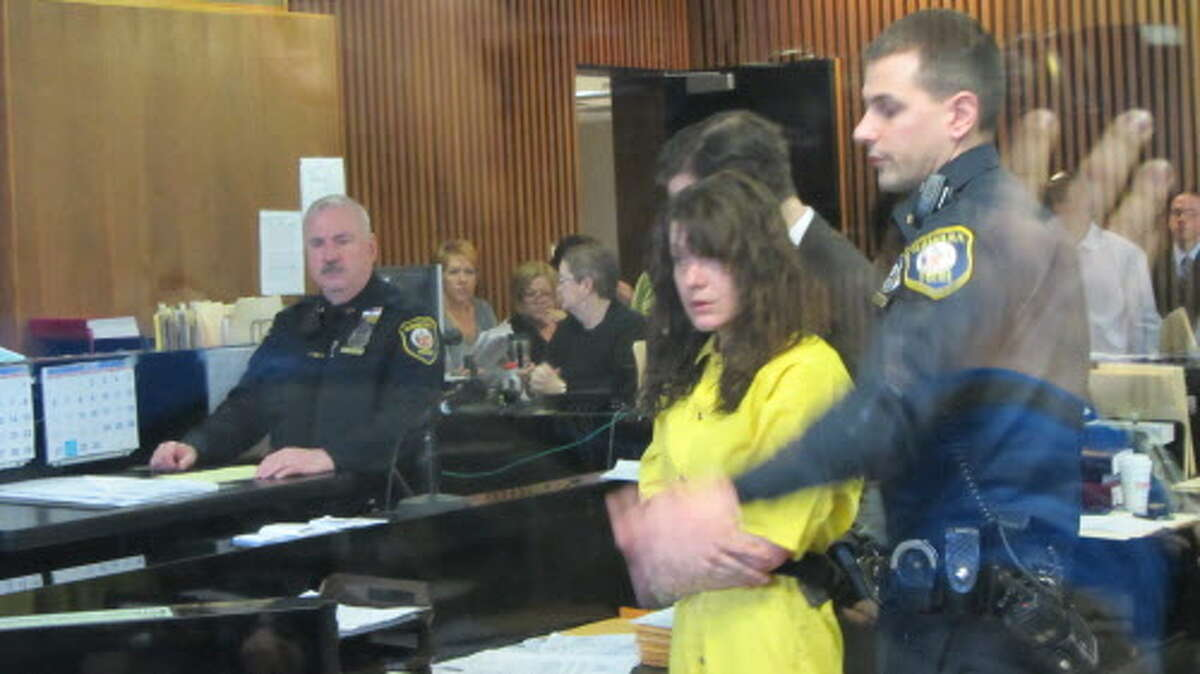 Sara D. Moore, 35, of Wynantskill, appears in Albany City Court for arraignment on a second-degree murder charge. Moore is accused of killing an Albany man in his Woodside Road home. (Bob Gardinier / Times Union archive)