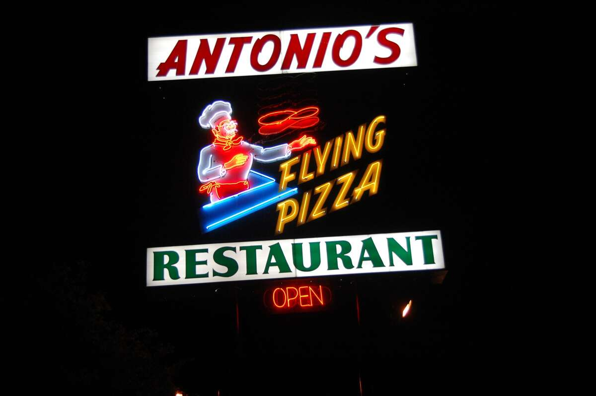 Neon sign for Antonio's Flying Pizza, in Houston, on Hillcroft.