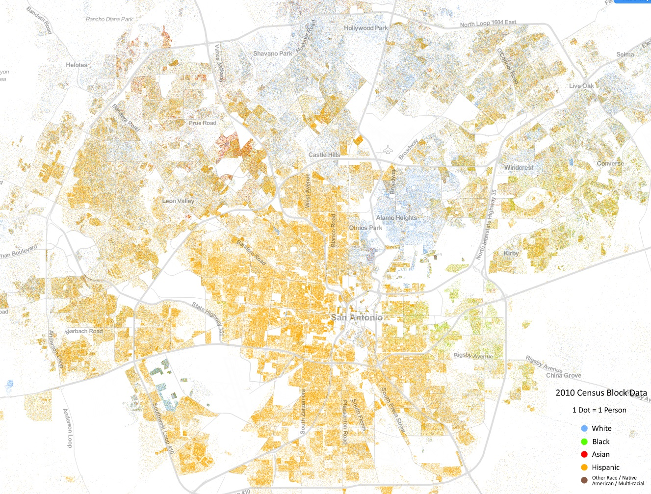 Stunning Diversity Map Shows San Antonios Racial Divide San - Us map with race concentrations