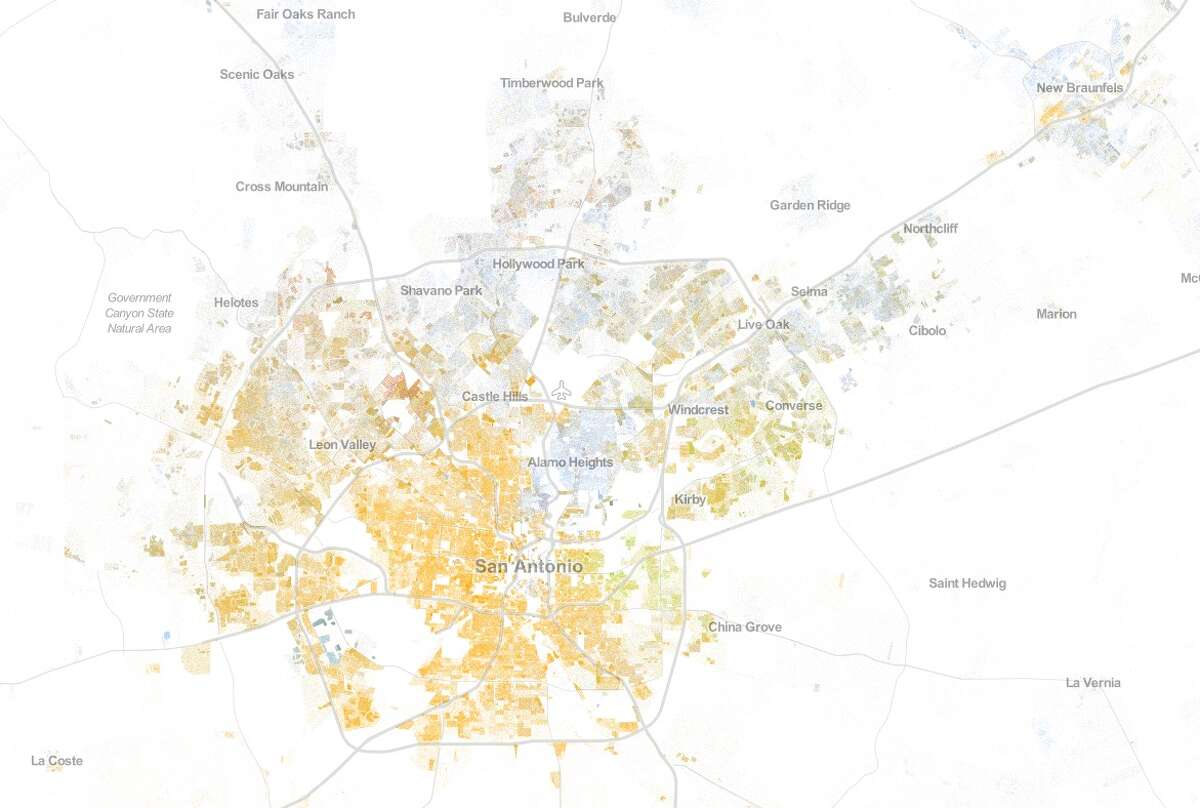 San Antonio on the Racial Dot Map, which was developed by the Weldon Center of University of Virginia and shows population based on race using 2010 Census data. The colors represent one of five categories: White (blue), Black (green), Asian (red), Hispanic (yellow) and other.