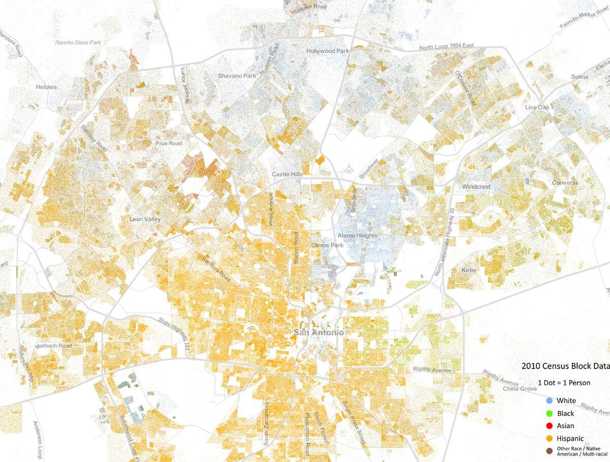 The North Side of San Antonio on the Racial Dot Map, which was developed by the Weldon Center of University of Virginia and shows population based on race using 2010 Census data. The colors represent one of five categories: White (blue), Black (green), Asian (red), Hispanic (yellow) and other.