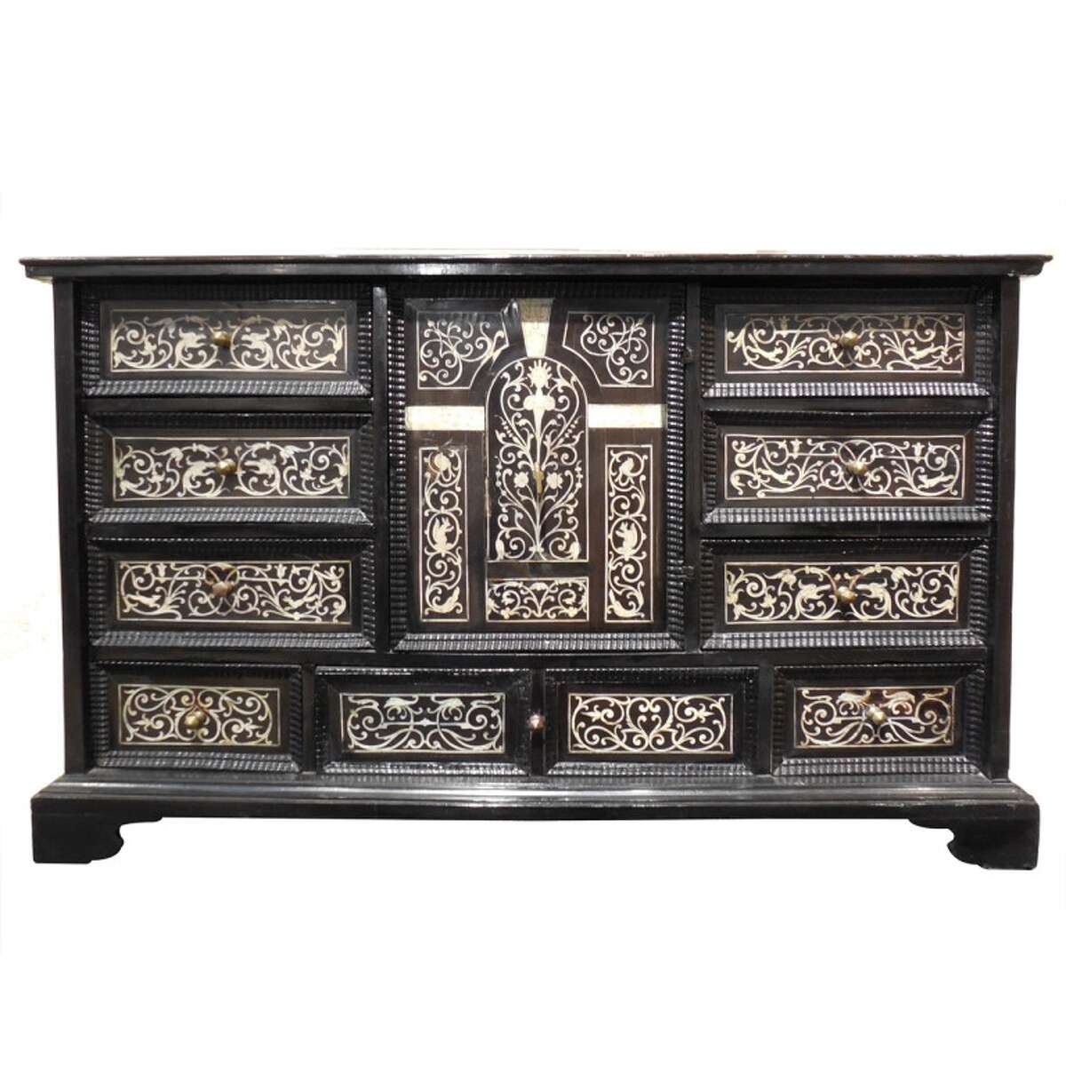 An 18th-century Italian ebony cabinet with ivory inlay from Houston Antiques & Art & Design Show 2014 exhibitor Vandeuren Gallery of Los Angeles