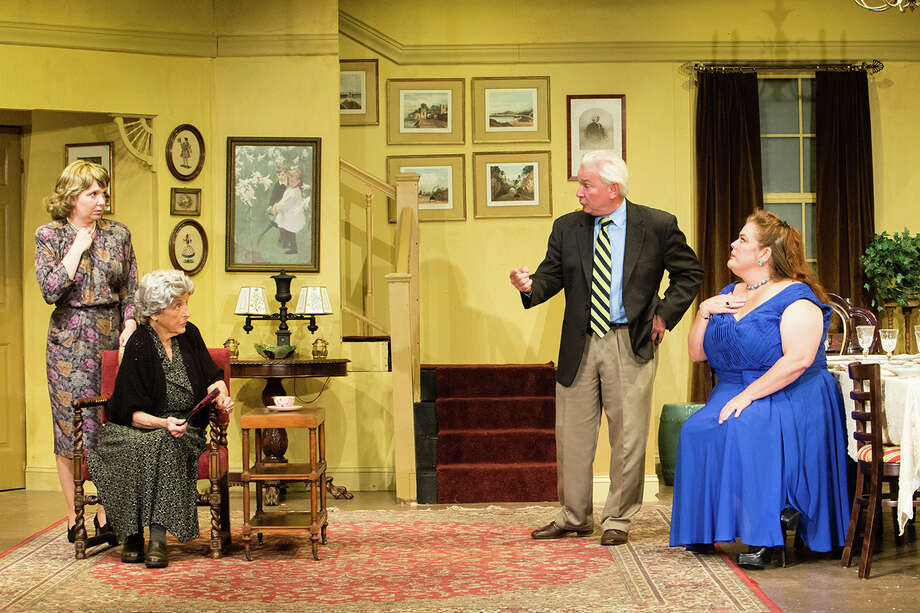 "The recent New York hit ""Dividing the Estate"" by Horton Foote is being presented through October 12 at the Sherman Playhouse. The ensemble includes (from left) Jackie Decho Holm, Ellen Burnett, Leo Paul, and Beth Bonnabeau. Photo: Josh Siegel, Contributed Photo / Connecticut Post Contributed"