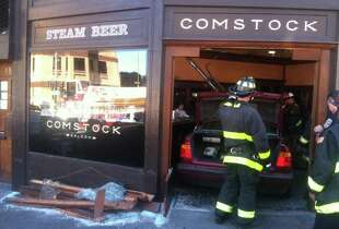 Columbus Street was closed at Kearney after a BMW plowed into North Beach bar Comstock Saloon on Monday, September 15, 2014. Picture via @EvanSernoffsky