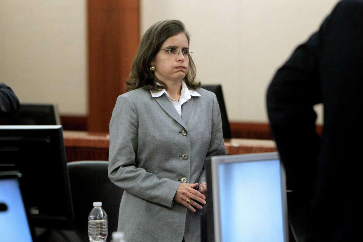 Dr. Ana Maria Gonzalez-Angulo, felony charge of aggravated assault, at the first day of trial for in the 248th District Court at the Harris County Criminal Justice Center Monday, Sept. 15, 2014, in Houston, Texas. Dr. Gonzalez-Angulo was charged in May 2013 with poisoning Dr. George Blumenschein. Judge Katherine Cabaniss is presiding over the case.