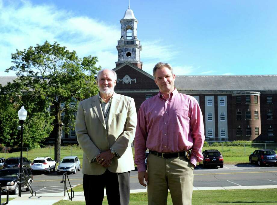 George Benson, left, director of the Newtown Land use Agency and Rob Sibley, deputy director of planning and land use are photographed on the Fairfield Hills campus in Newtown, Conn., Monday, Sept. 15, 2014. Photo: Carol Kaliff / The News-Times