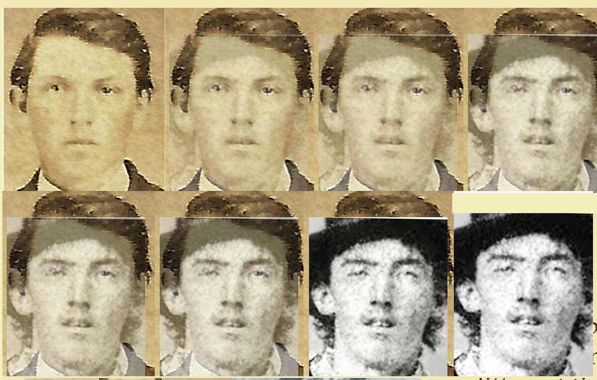 Gibson overlaid the two photographs and says they are a match claiming the shape of the head is one indication the man seen in the first image is the same identified as Billy the Kid in the last.