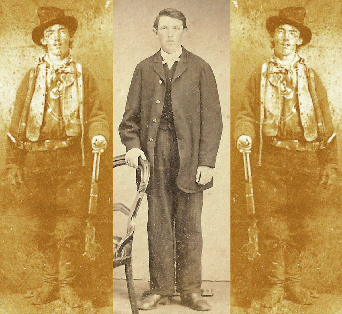 Is this Billy the Kid? On the left and right are mirror images of a rare Tintype image of famed Western outlaw William