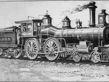 Illustration of a standard passenger locomotive of the New York, New Haven and Hartford Railroad in 1885.