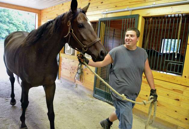 Assistant farm manager Matthew Christian leads one of the 14 retired thoroughbred race horses into the stables at Peter and Suzann Bobley's stable for retired thoroughbred race horses, 18 Karat Farm, Thursday Sept. 11, 2014, in Schuylerville, NY.  (John Carl D'Annibale / Times Union) Photo: John Carl D'Annibale / 00028571A