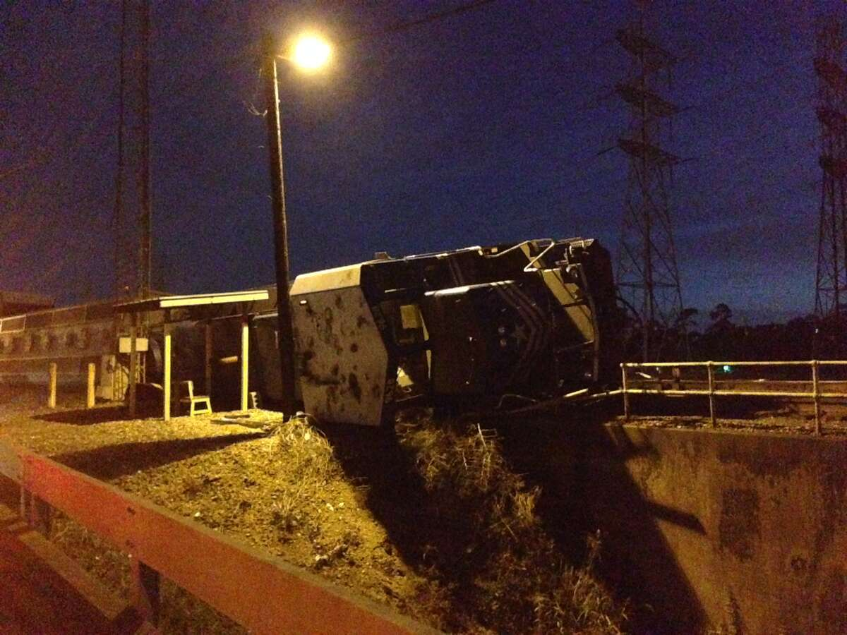 No one was injured after a train derailed near Produce Row and Old Spanish Trail on Monday night.